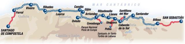 Transcantabrico Τρένο: Δρομολόγιο